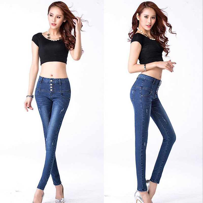 Cotton elastic ripped pencil women jeans Korean style quality fashion high waist single-breasted slim cowboy denim pants D35Одежда и ак�е��уары<br><br><br>Aliexpress