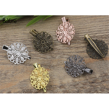 BoYuTe 20Pcs 25MM Filigree Metal Feather Hair Clip Vintage Style 6 Colors Plated Women Hair Clip Hairgrip