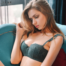 Buy shaonvmeiwu Lingerie underpants set lace bra half cup ladies bra thin little boobs gathered