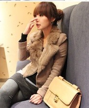 6 times . 2014 zipper decoration camel fur collar woolen shorts slim outerwear , Free Shipping
