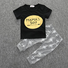 Imported Kids Infant Clothing Outfit Summer Cotton Short Sleeve Cool Letters Shirt Newborn Pants Cheap Baby Boy Clothes Set(China)