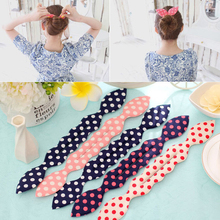Sale 1Pc Fashion Cute Sweet Magic Sponge Clip Dot Bowknot Curler Tool Bun Maker Hair Twist Headwear