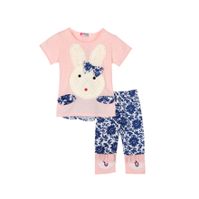 Baby Kids Girls Top+Short Pants Summer Suits Cute Rabbit Cartoon Children's Clothing Set 2Pcs New Arrival(China)