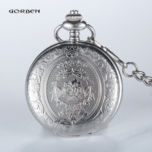 Retro GOBREN Roman numerals Silver Plated 2 Sides Carving Elegant Pocket Watch Mens Analog Quartz Fob Waist Women Luxury Watch