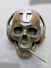 China brass copper carved beautiful Skull Heads listen to music smoking Statue(China)