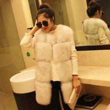 Faux Fur Coat Vest Rabbit O-neck Fur Coat Rushed Fox Mink Sleeveless Winter New Was Imported Whole Leather Long In Female Vest