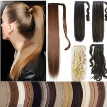 Real Human Made Clip In Hair Extensions Wrap Around Ponytail Pony Tail Synthetic Straight Hairpiece Fake Ponytails Hair piece