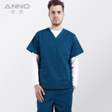 Top quality doctors operating room surgical suit uniforms women&men hospital surgical gowns V-neck cotton medical scrubs Anno