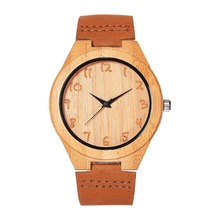 Fashion High Quality Hand-made Bamboo Wooden Watches Made of wood Wristwatch with Leather Band for Men Women Relojes De Madera