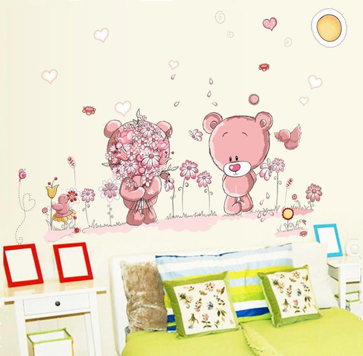 HTB1oC3cmZnI8KJjSspeq6AwIpXaR - Pink Cartoon Cat Rabbit Flower Wall Sticker For Baby Girls Kids Rooms