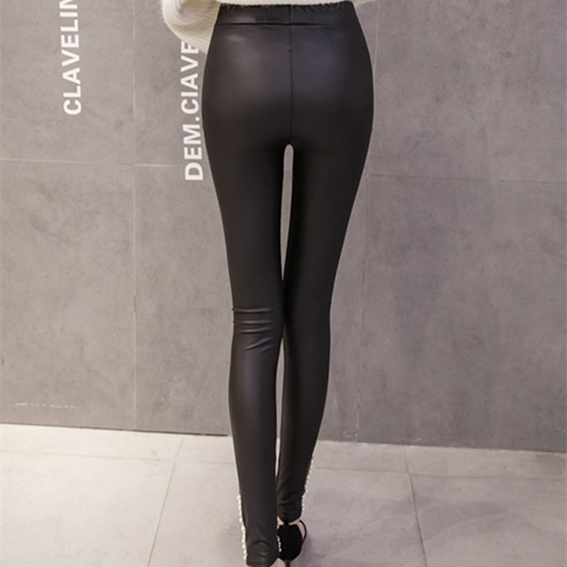 New-Brand-Women-Leggings-Faux-Leather-Thick-Warm-Legging-High-Waist-Stretch-Skinny-Beads-Pearl-Pencil (3)