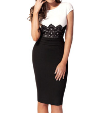 Delicate New Women's Summer Evening Wedding Pencil Midi Celeb Lace Bodycon Ladies Contrast Color Slim Mini Dress(China)
