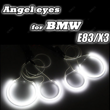 Factory Supply headlight ccfl angel eyes for bmw x3 e83,ccfl auto car lights with 4 halo rings and waterproof inverters(China)