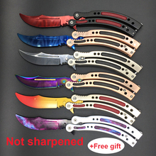 CS GO butterfly in knife butterfly training knife stainless steel Karambit folding knife blade gift+screwdriver many styleS