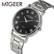 MIGEER Fashion Men Wrist Watch Horloges Mannen Crystal Stainless Steel Quartz Watch Bracelet Mens Watches Top Brand Luxury clock