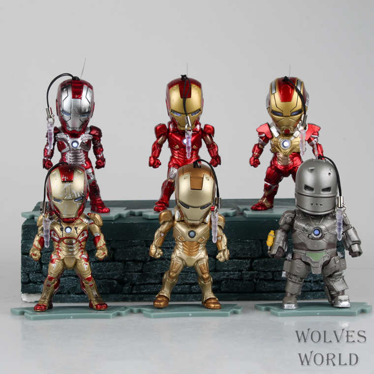 Iron Man 3 Light and Figures Iron Man MK1 5 7 17 21 42 PVC Action Figure Collectible Toys Phone Rope 6pcs/set HRFG297<br>