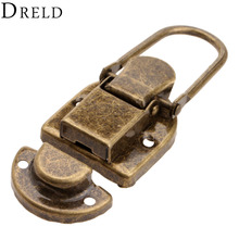 DRELD 1Pc 60x34mm Antique Brass Drawer Latches Iron Latch Decorative Jewelry Gift Wine Wooden Box Suitcase Case Hasp Latch Hook