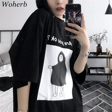 Woherb New 2017 Fashion Summer Harajuku Cute Child Letter Are you ok Print T Shirt  Women Tops Plus Size Casual t shirts 72885