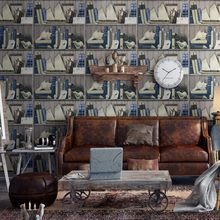 Free Shipping Personality Retro Old Bookshelf Wallpapers American Village Style Study Background Wallpaper Living Room