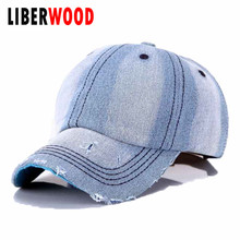 Summer Denim Plain Solid Blue Jeans Baseball Hat Cap Cowboy Dad Hat Curved Ball Cap Distressed Vintage MEN WOMEN CASUAL HAT