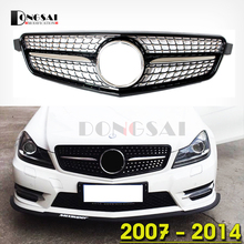 c63 amg design high quality Mercedes W204 replacement chrome diamonds grill for 2007-2014 benz c300 s204 c204 bumper