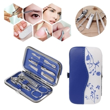7Pcs/set Manicure Nail Cleaner Nail Clippers Scissor Tool Blue and White Porcelain Boxes Professional 2017 New Fashion Nail Care(China)