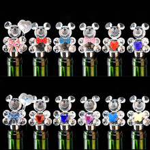 Fashion Clear Crystal Bear Glass Wine Stopper Bottle Stopper Gift Box Package Home Decoration Wedding Gift 5pcs/lot DEC198(China)