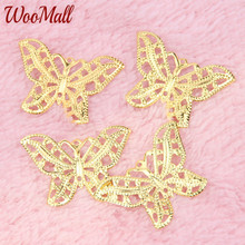 Buy Gold Butterfly Filigree Wraps 50Pcs Connectors Metal Crafts 32x23mm Jewelry Making DIY Accessories Charm Pendant for $1.99 in AliExpress store