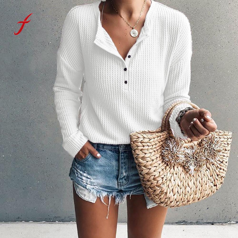 Rib Knit Button T-Shirts Women korean style Long Sleeve v Neck Henley Shirt Tunic Tops poleras de mujer moda 2019 Women Tshirt Mercedes-Benz CLA-класс