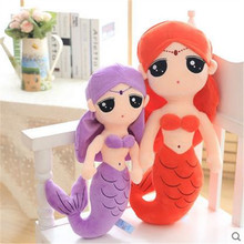 40CM Hot Sale One Piece Cute Mermaid Plush Toys PP Cotton Stuffed Sleeping Pillow Super Beautiful Dolls Girlfriend Gift 4 Colors