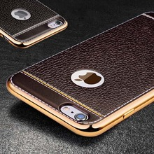 Luxury High Quality PU Leather Plating TPU Soft Edge Case for iPhone 7 7 Plus 6S 6 Plus 5S SE Ultra Slim Phone Case Back Covers