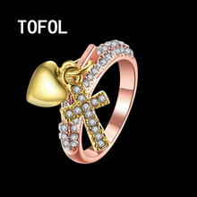 TOFOL Rings Green Fashion Cross Heart Lock Cross Ring  Creative Rose Gold Jewelry Trendy Ring