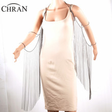 CHRAN Brand Shoulder Chain Arm Accessories Silver Plated Women Tassels Wing Design Jewlery Sexy Women Full Body Jewellery Chain(China)