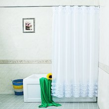 White Lace and Ruffles Design Shower Curtain Bathroom Creative Polyester Bath Curtains cortina de bano with 12 Hooks Bath Decor(China)