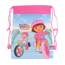 12 pcs Dora school bags kids cartoon backpack drawstring bag & infantile For children bag back to school mochila news 2016