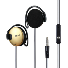 Hot New Sale!!! Shini Q140 Stereo EarHook Earphones Earbuds Super Bass Headset Handsfree 3.5MM With MIC 9 Colour Free Shipping