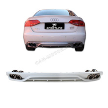 2008-2012 PP Unpainted + Steel A4L ABT Style Rear Bumper Lip Diffuser ,Car Exhaust Tips For Audi  (Fits 08-12 A4 B8 Standard)