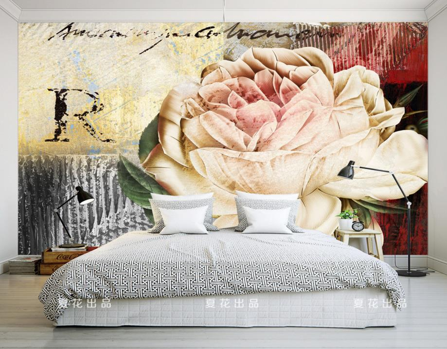 European Retro Rose Photo Wallpaper Countryside Background Painted Wall TV Room Bedroom Wall paper Home Decor<br>