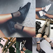 Women Girls Fashion sexy Fishnet Ankle Socks Mesh Lace thin Fish Net Short Black White Socks Sanwood luo