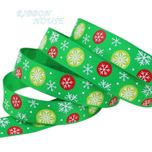 (5 yards/roll) Green and Red printed grosgrain ribbon christmas gift ribbon top quality satin ribbons(China)