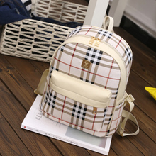 Tanluhu women high quality beige pu leather travel backpack teenager girl cute student backpack Mochila para mujer school bag