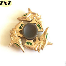 2017 New golden dragon Fidget spinner Zinc alloy Metal rotary EDC hand spinner for autism and ADHD Focus Stress Fingertip gyro