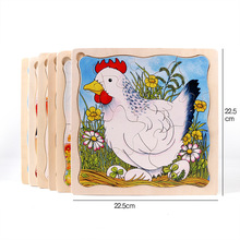 Animal cartoon jigsaw puzzle toys Multilayer story puzzle Children's early education product wooden puzzle