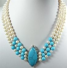 3 rows white Freshwater pearl blue  agate/turquoise lucky Bridal wedding necklace