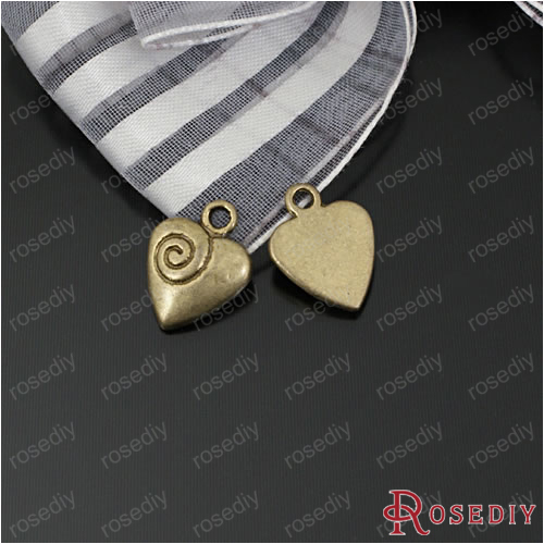 (26804)30PCS 10*7MM Zinc Alloy Champagne gold Heart Charms Pendants Diy Jewelry Findings Accessories Wholesale