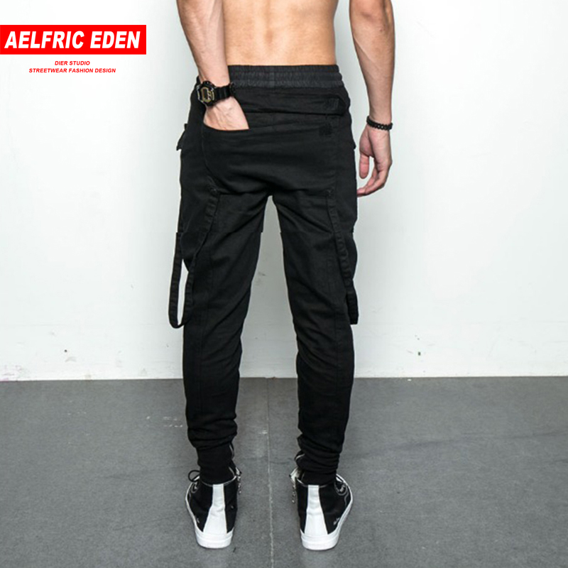 Aelfric Eden Micro-bomb Military Black Skinny Pants Back Large Pocket Spliced Ribbon Mens Casual Pants Man Elastic Band Trousers