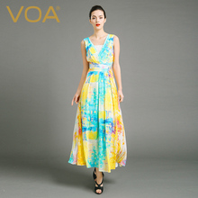 VOA summer female stamp sleeveless silk dress blue yellow white lace dress A6806 slim waist