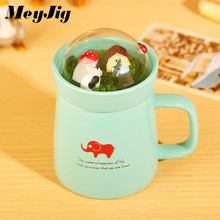 Creative Milk Coffee Tea Ceramics Mug Cartoon Cute Animal Micro Landscape Mug Home Office Drinkware Supplies Children Gift(China)
