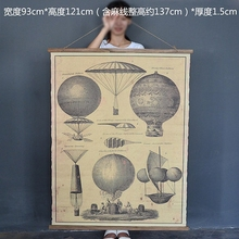 Large Retro hot air balloon Linen Cloth Painting Scrolls Poster Mural Paintings Banners Hanging Art Office Loft Ornament Wall