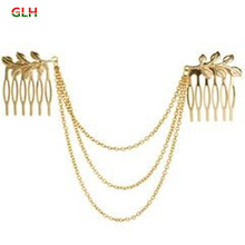 Free Shipping Womens Personality Golden Tone Leaf Hair Cuff Chain Comb Headband Hair Band Hot(China)